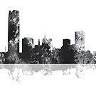 Oklahoma City, Oklahoma Skyline - schwarz und weiß von Marlene Watson
