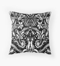 White and Black Jungle Throw Pillow