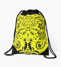 Black and Yellow Jungle Drawstring Bag