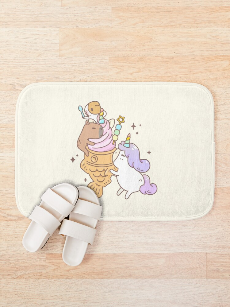 Alternate view of Bubu the Guinea pig, Unicorn Taiyaki Ice-cream  Bath Mat