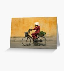 Returning from the market, Vietnam Greeting Card