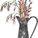 Ornamental dry grass in metal jug by stasia-ch