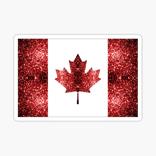 Canada flag red sparkles Sticker