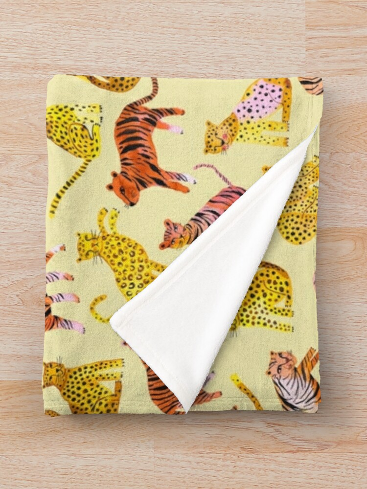 Alternate view of Tigers and Leopards Africa Savannah Throw Blanket
