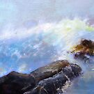 Morning surf on rocks by Gary Shaw