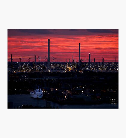 Rotterdam Harbour Skyline at Sunset, from Euromast Photographic Print