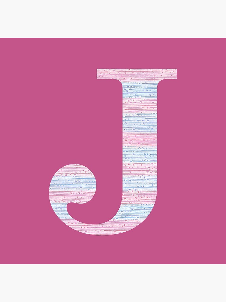 Letter J Blue And Pink Dots And Dashes Monogram Initial by theartofvikki