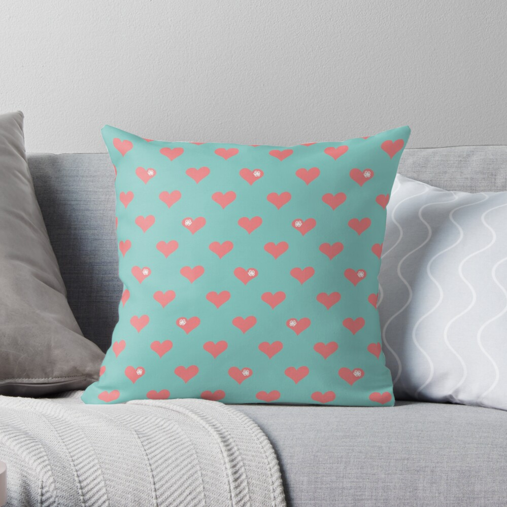Coral Pink Aloha Love Hearts on Blue Throw Pillow