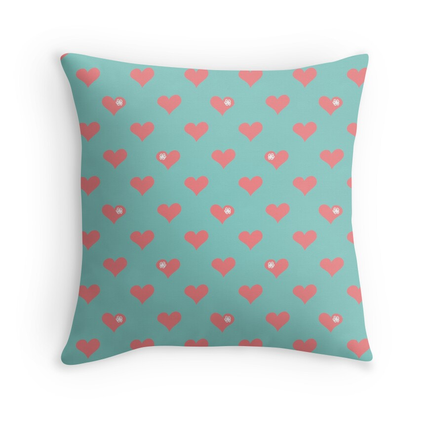 Coral Pink Aloha Love Hearts on Blue