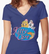 Kitty Care logo Fitted V-Neck T-Shirt