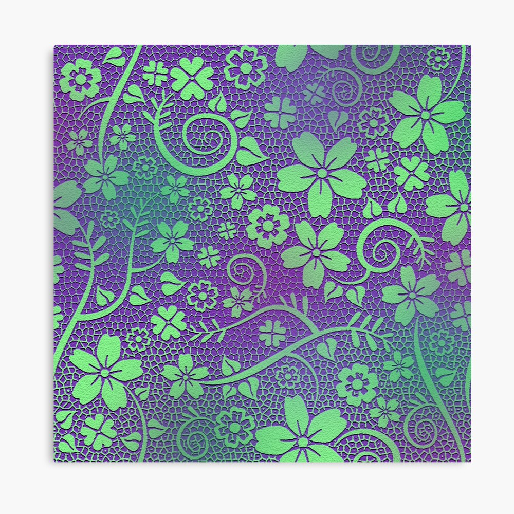 Pretty Purple and Green Floral Vine Garden Canvas Print - Green Wall Decor