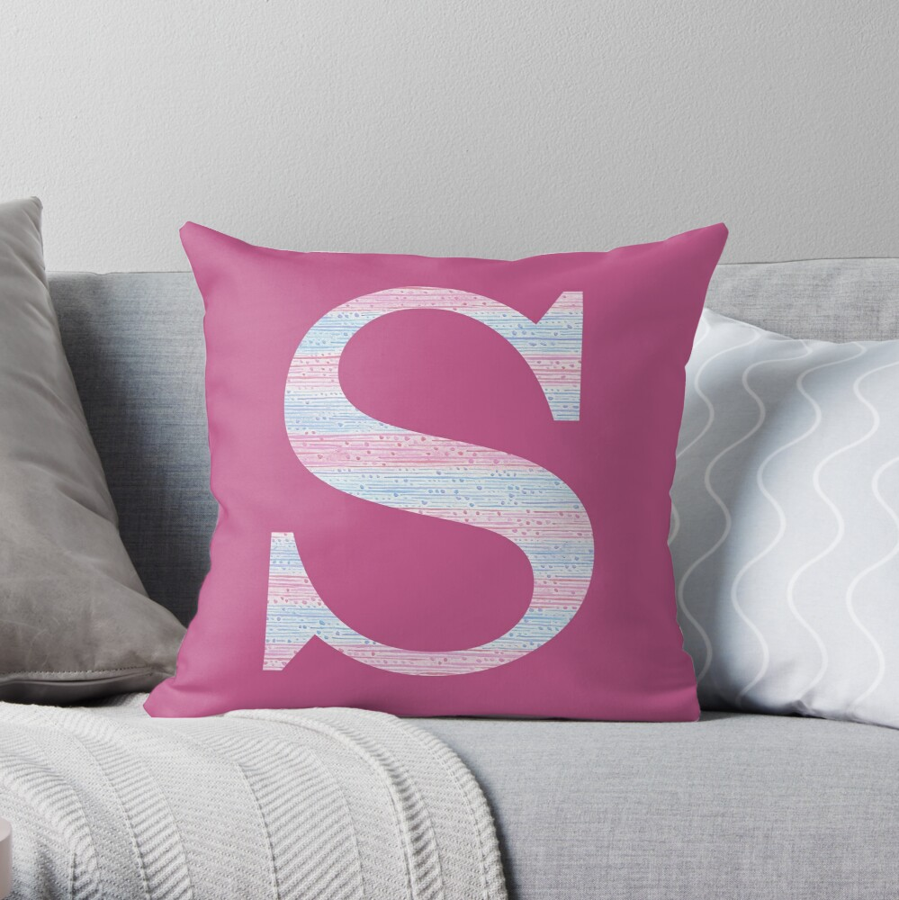 Letter S Blue And Pink Dots And Dashes Monogram Initial Throw Pillow