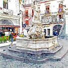Amalfi: fountain with statue saint by Giuseppe Cocco