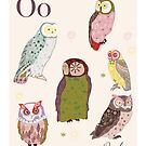 alphabet poster - owls by whatmilk