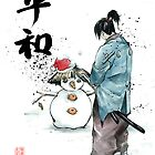 Japanese Calligraphy Peace with Samurai and snowman by jhjjjoo