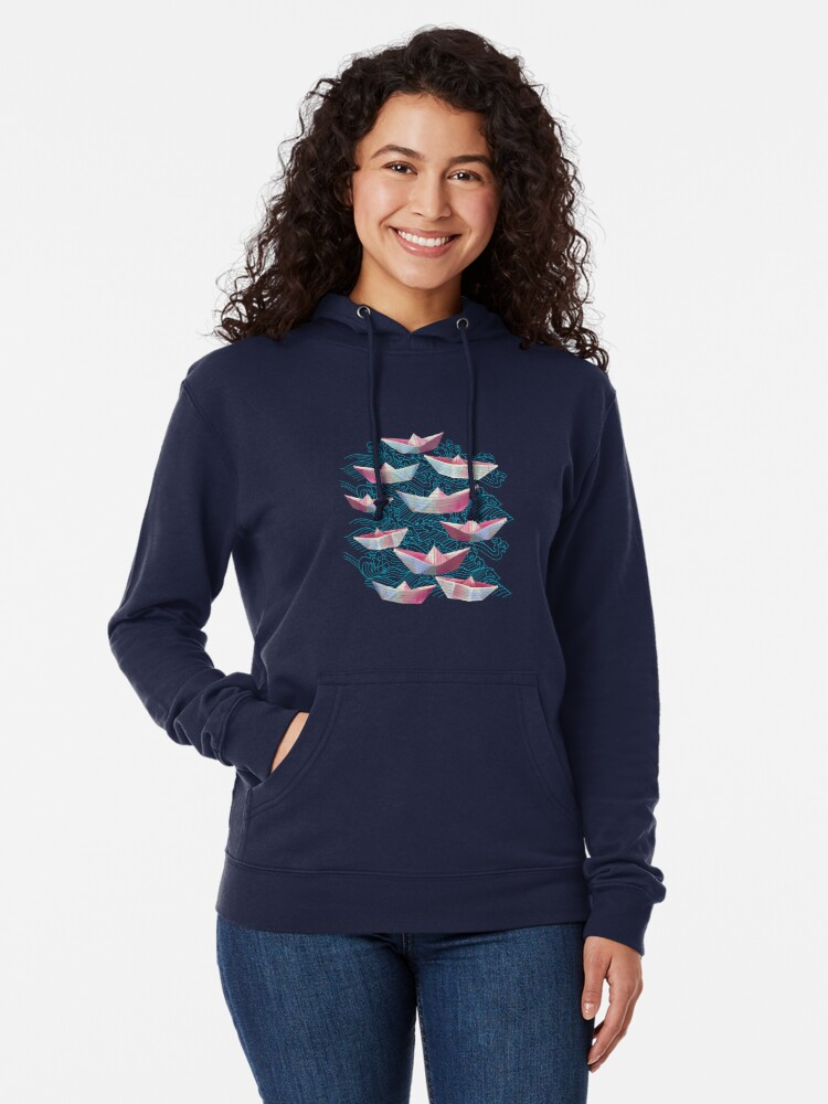 Alternate view of Japanese waves and paper boats Lightweight Hoodie