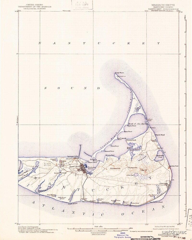 Massachusetts  USGS Historical Topo Map MA Nantucket 352877 1901 62500 by wetdryvac