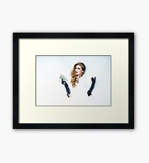 beautiful girl in black gloves with dollars in the hands of Framed Print
