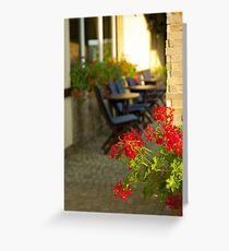 Red flowers and cofee tables Greeting Card