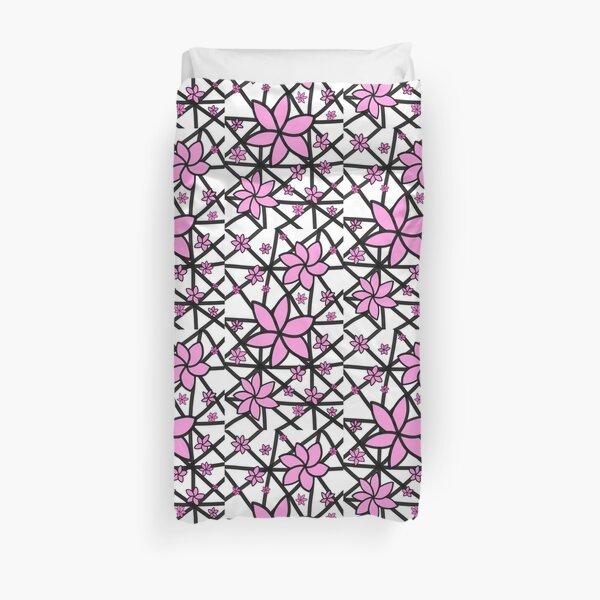 Pink Lattice Flower Duvet Cover
