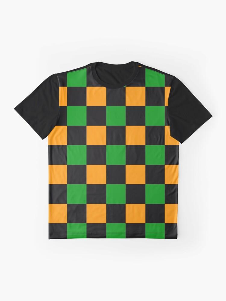 Alternate view of Checkered Orange, Green, Black Graphic T-Shirt