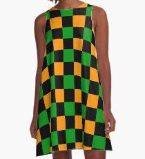 Checkered Orange, Green, Black A-Line Dress