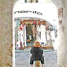 Amalfi: shop and woman by Giuseppe Cocco