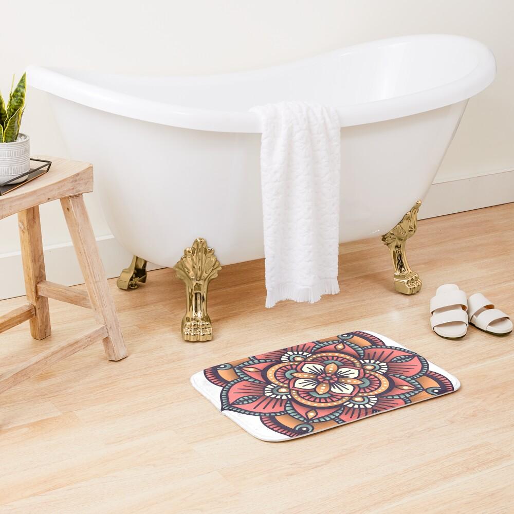 Red Mandala  Bath Mat