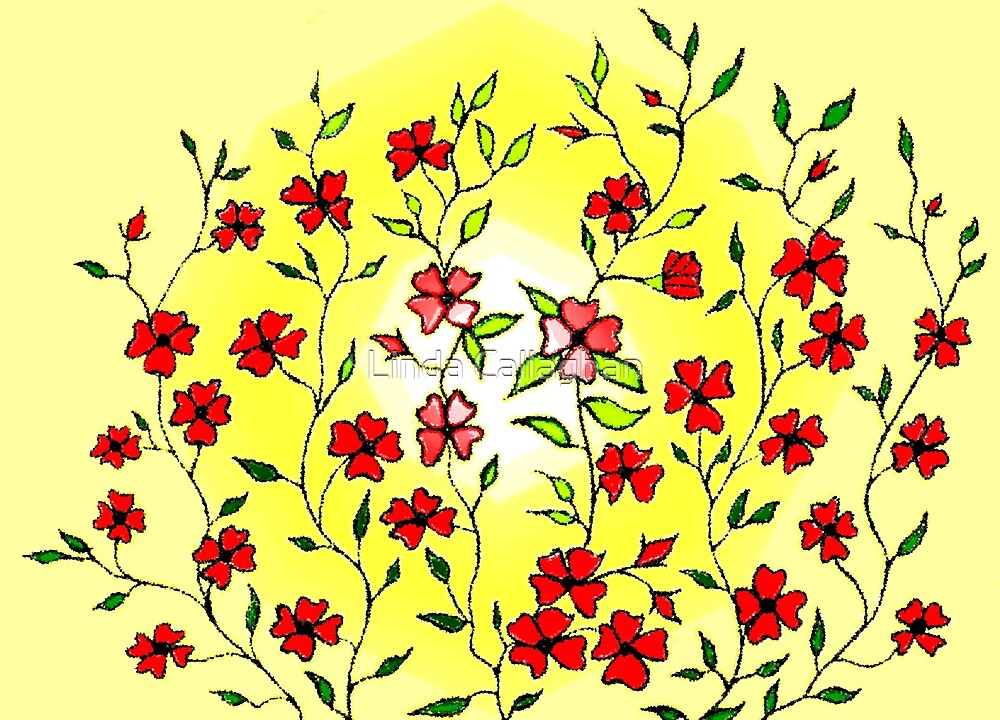Red Blooms on a Sunshiny Day by Linda Callaghan