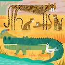 Croc with cheetahs by Gareth Lucas