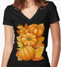 Pumpkins and Autumn Leaves Party Fitted V-Neck T-Shirt