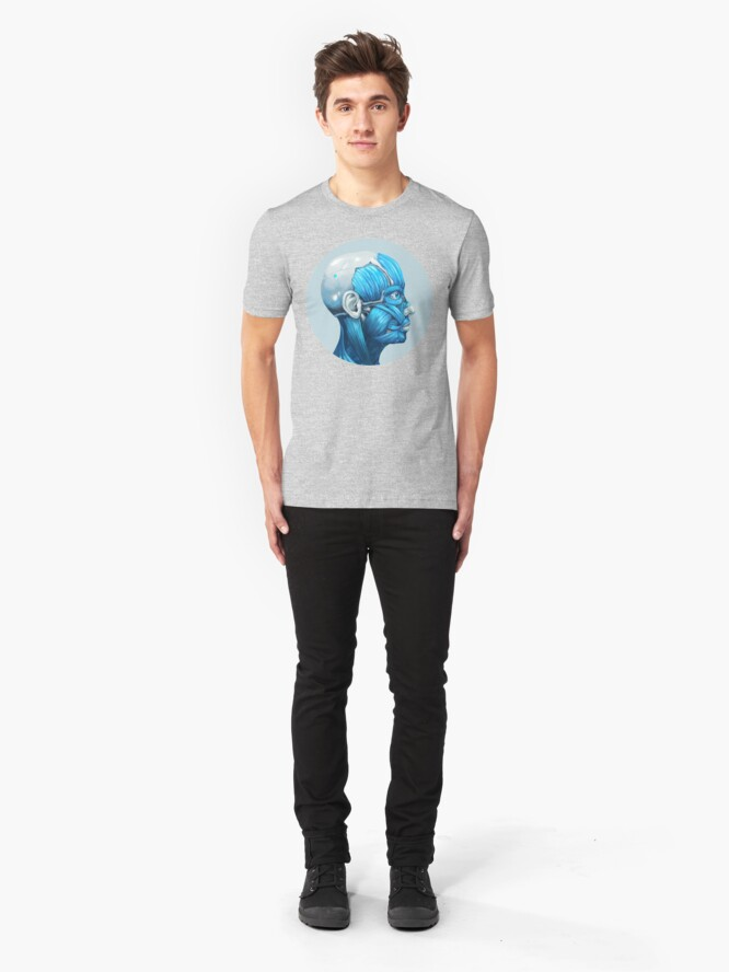 Alternate view of Android Facial Muscles Icon | Digital Illustration Slim Fit T-Shirt