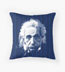 Albert Einstein Portrait with blue text background  Throw Pillow