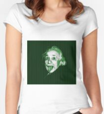 Albert Einstein Portrait pulling tongue and green text background  Women's Fitted Scoop T-Shirt