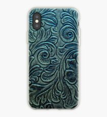 Blue Green Tooled Leather Floral Scrollwork Design iPhone Case