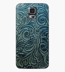 Blue Green Tooled Leather Floral Scrollwork Design Case/Skin for Samsung Galaxy
