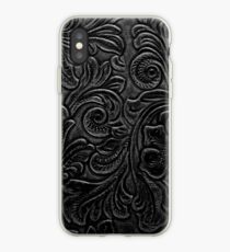 Black Tooled Leather Floral Scrollwork Design iPhone Case