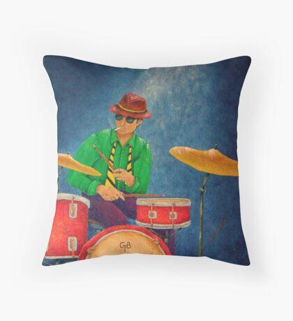 Jazz Drummer Throw Pillow
