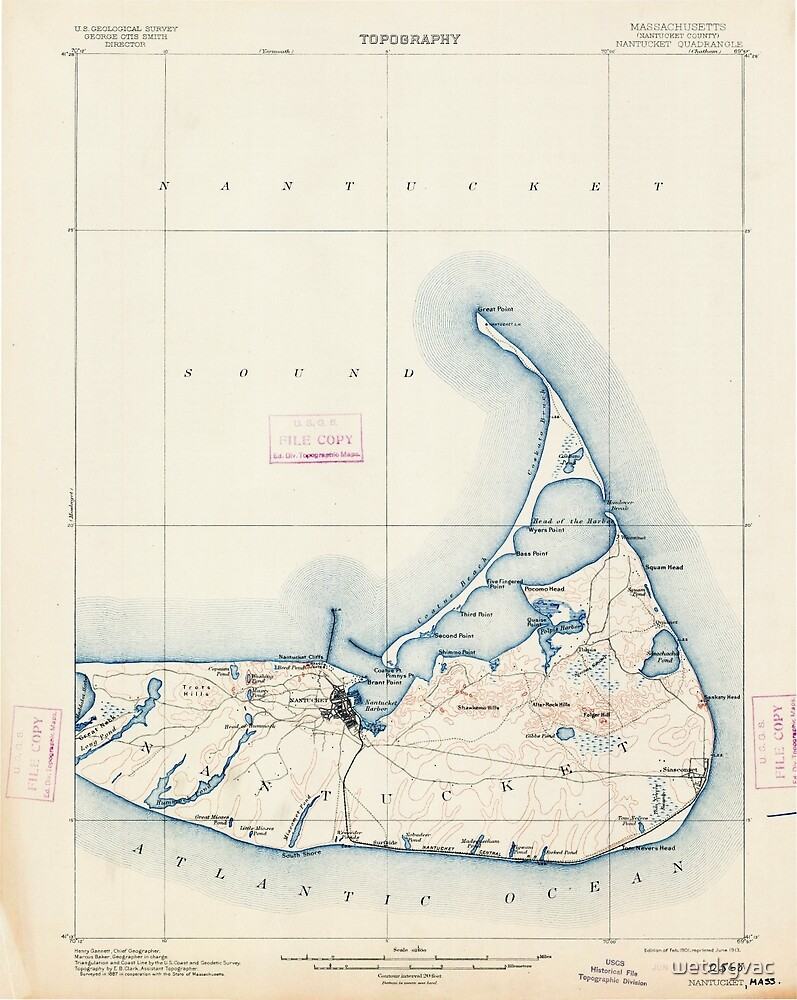 Massachusetts  USGS Historical Topo Map MA Nantucket 352875 1901 62500 by wetdryvac