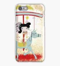 Carousel ribbon striped circus lighting bugs colorful whimsical streaks magic vintage ride doll print  iPhone Case/Skin