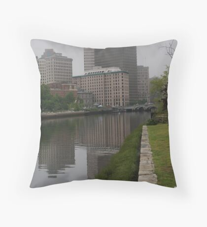 Foggy morning in Providence Throw Pillow