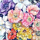 """Flower """"Tapestry"""" in Watercolour Pencils by Marie Theron"""