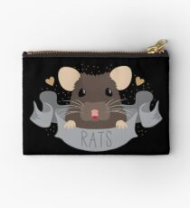 RATS with cute rat on a banner Zipper Pouch