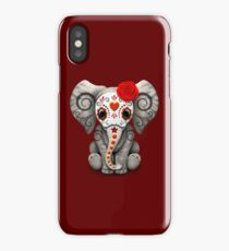 Red Day of the Dead Sugar Skull Baby Elephant iPhone Case/Skin