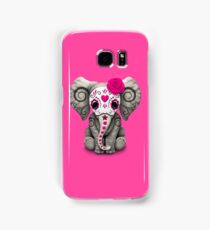 Pink Day of the Dead Sugar Skull Baby Elephant Samsung Galaxy Case/Skin