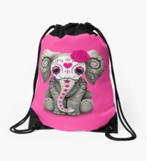 Pink Day of the Dead Sugar Skull Baby Elephant Drawstring Bag