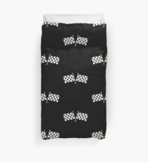 Checkered flagged crossed finish line race Duvet Cover