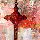Texture In Red Over Crucifix by Larry Costales