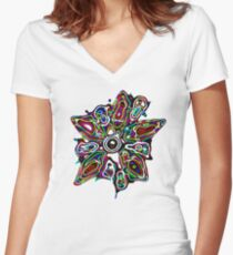 Super Nova Flower Fitted V-Neck T-Shirt