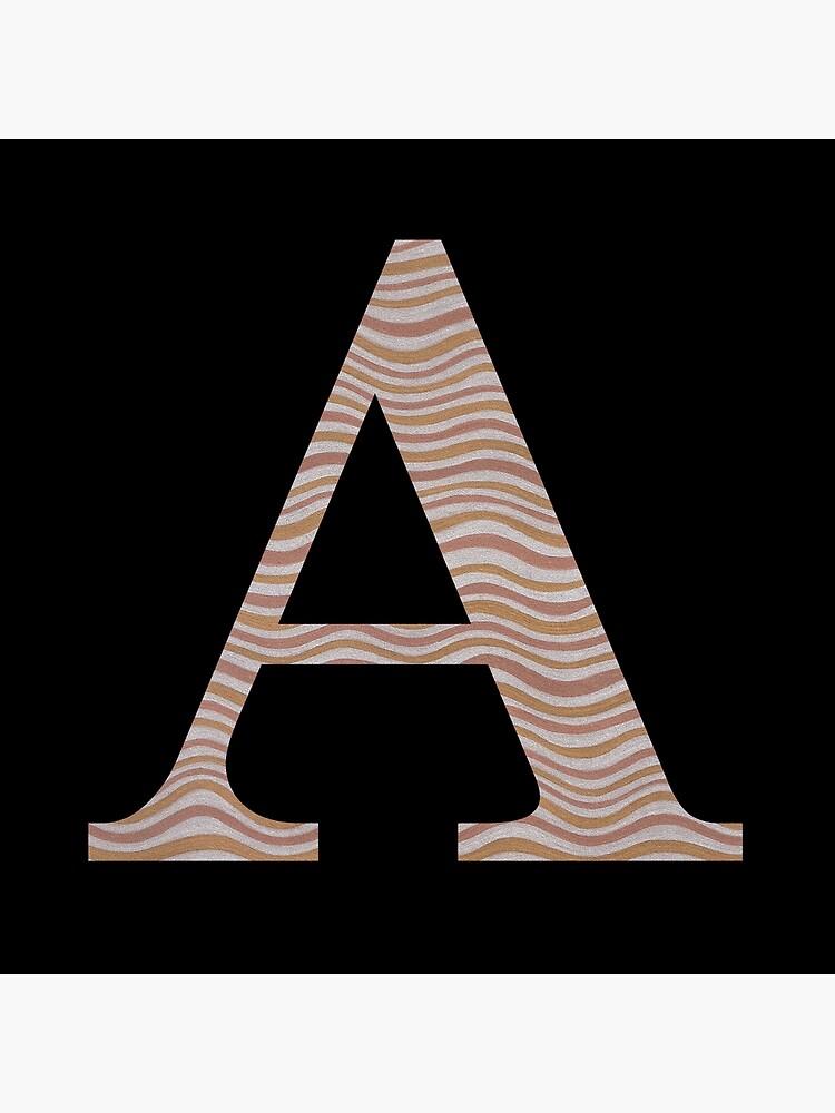 Letter A Metallic Look Stripes Silver Gold Copper by theartofvikki